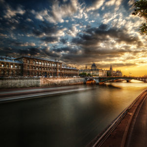 Paris, Barge, Bridge, Sunset, Clouds, Nuages, Pont, Bateau