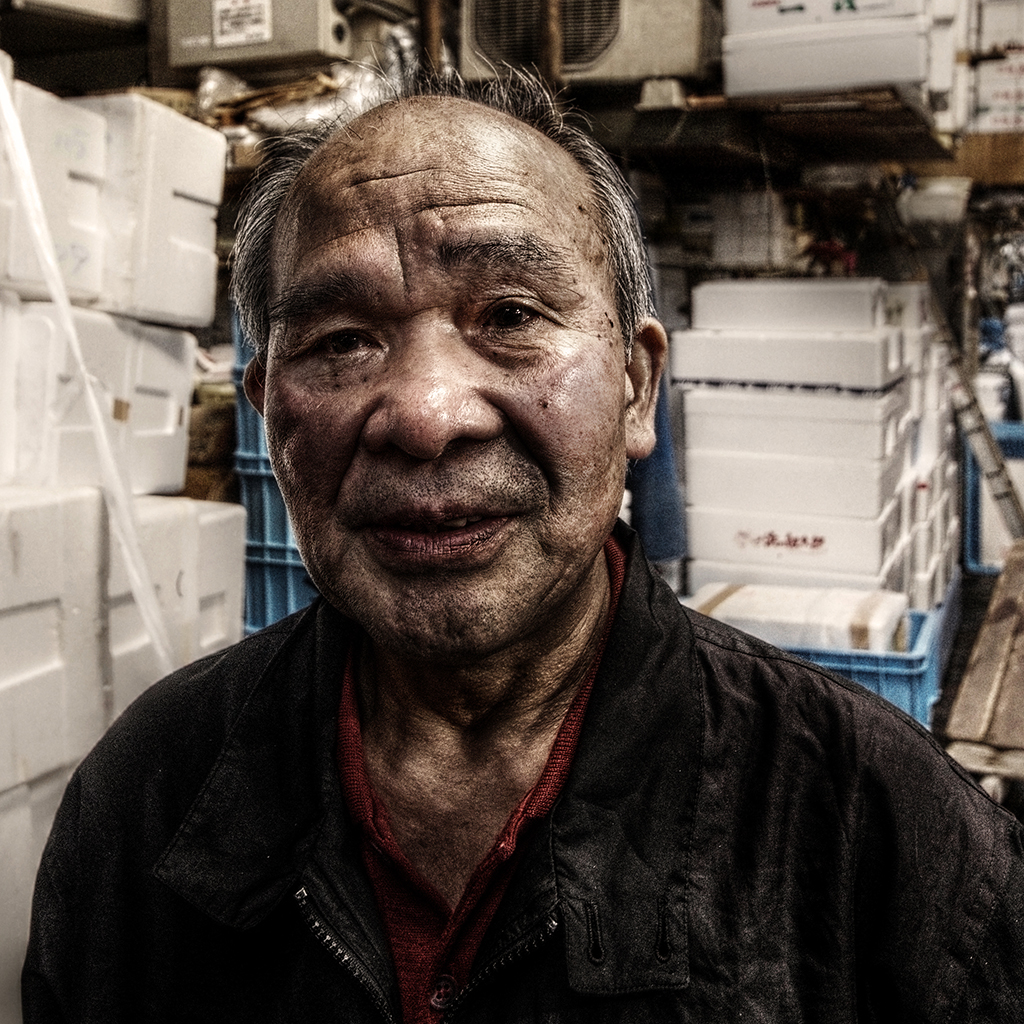 Portrait, Old Man, Tsukiji, Japon, Hat