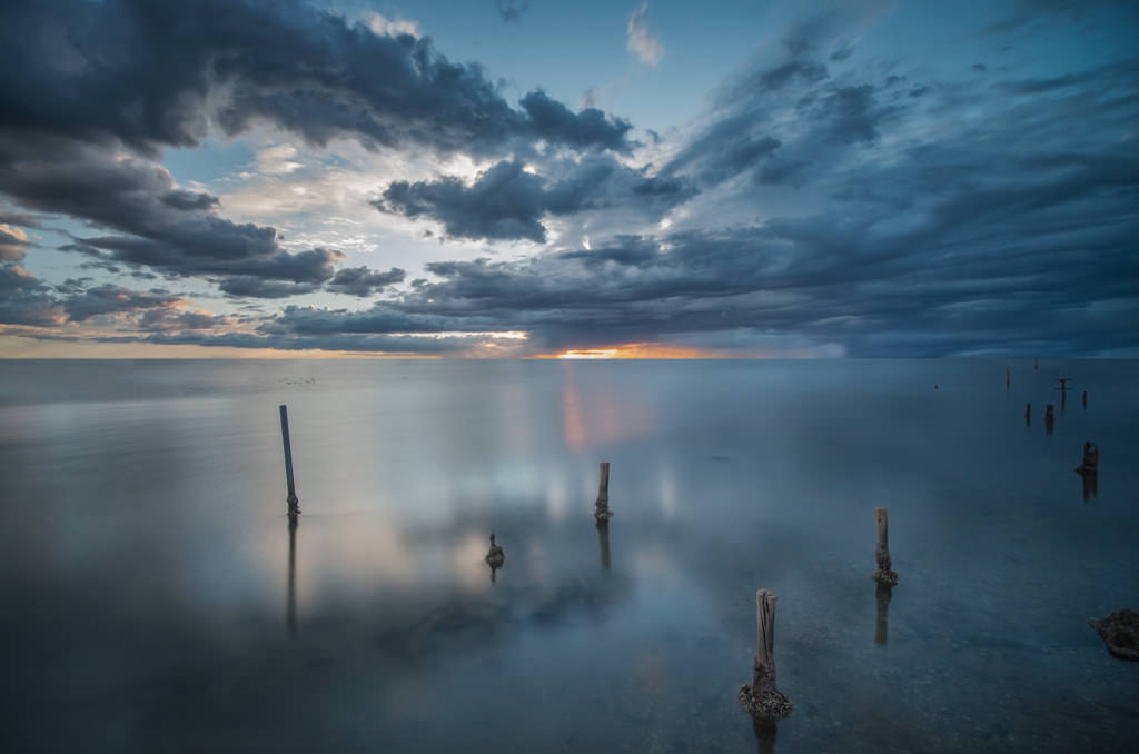 Ponton, Soleil couchant, Nuages, Pose longue, Clouds, Long exposure, Bleue, Artfreelance