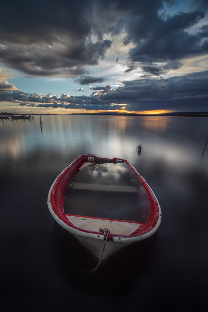 Bateau, Barque, Soleil couchant, Étang, Nuages, Pose longue, Pond, Boat, Clouds, Long exposure, Artfreelance, Boats at sunset