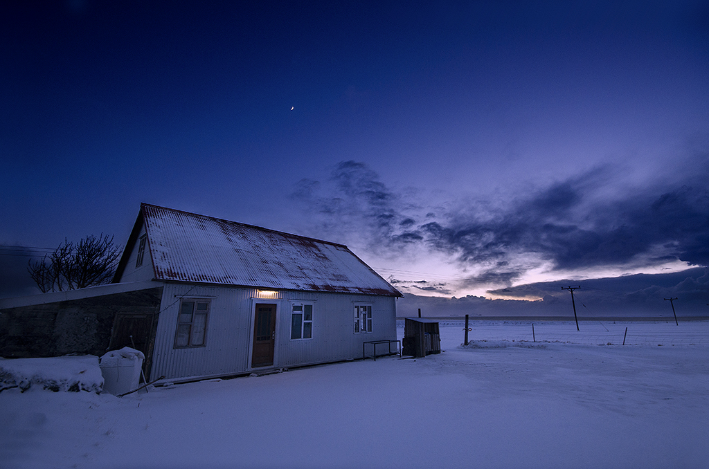 Icelandic home, evening, moon