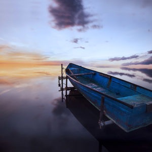 Bateau, Barque, Soleil couchant, Étang, Nuages, Pose longue, Pond, Boat, Clouds, Long exposure, Boats at sunset