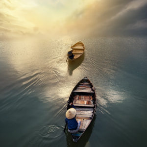 André Alessio, Graphylight, Hoi An, Vietnam, Boats, Sunset, Clouds